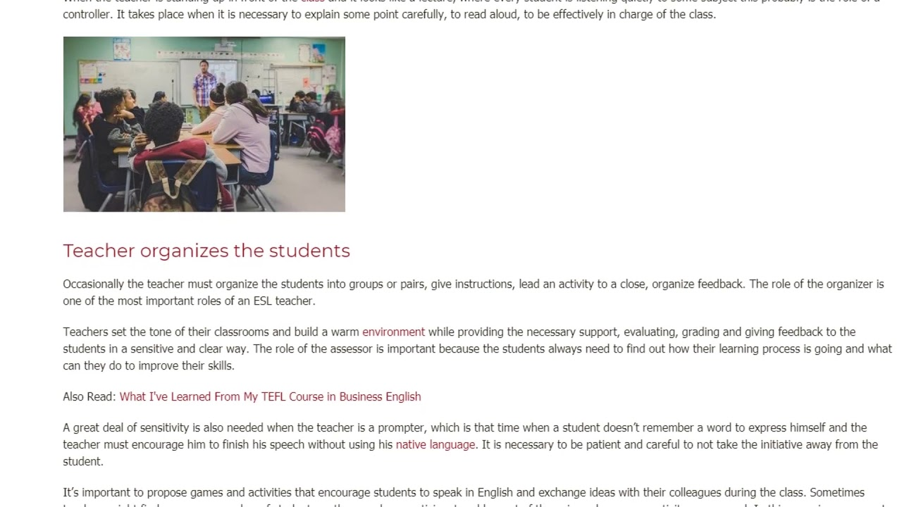 How many roles does an ESL teacher serve in the classroom?   ITTT TEFL BLOG
