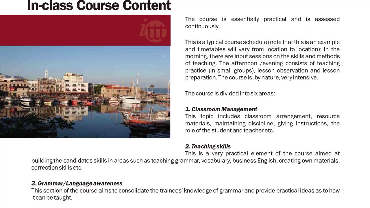 International TEFL and TESOL Training (ITTT) | TEFL/TESOL In-Class Course Content