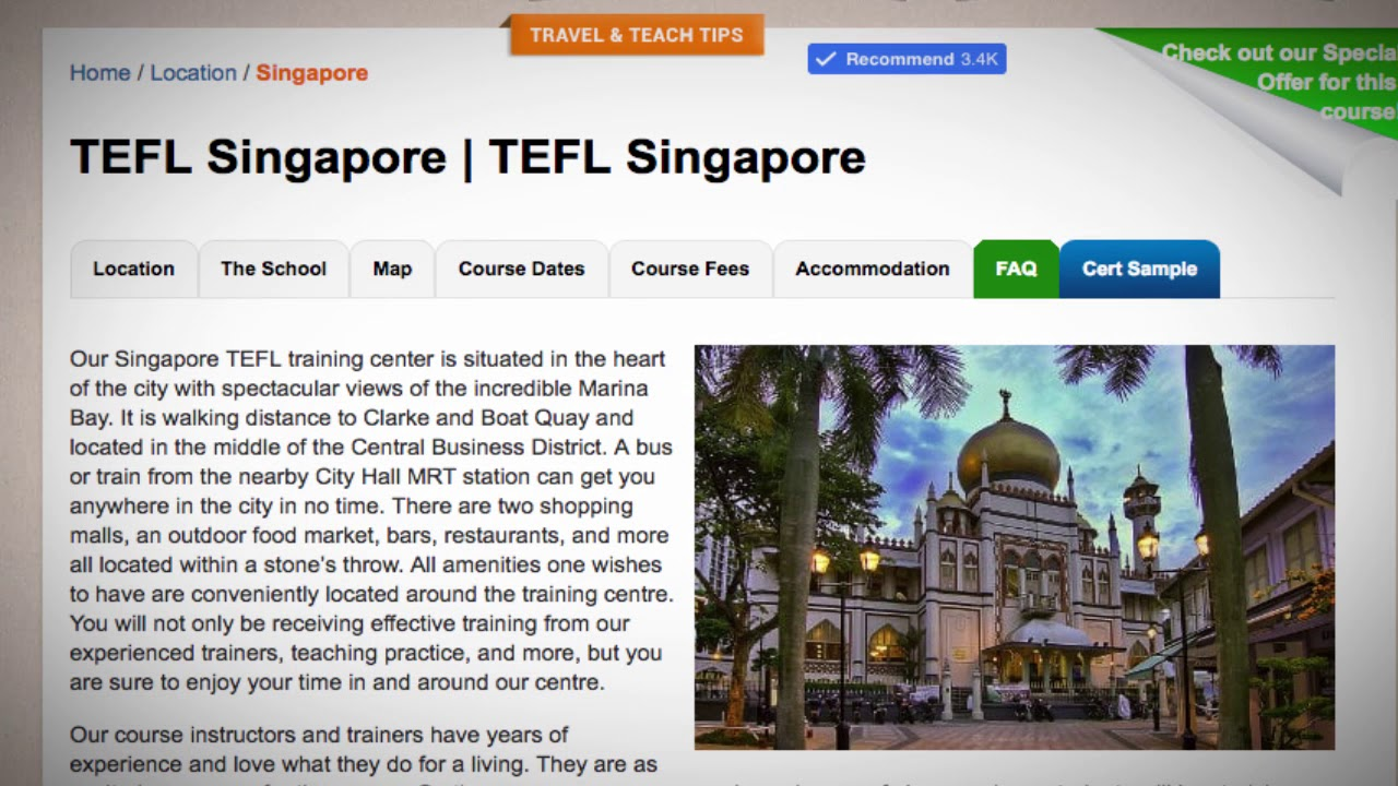 Welcome to Our TEFL / TESOL School in Singapore | Teach & Live abroad!