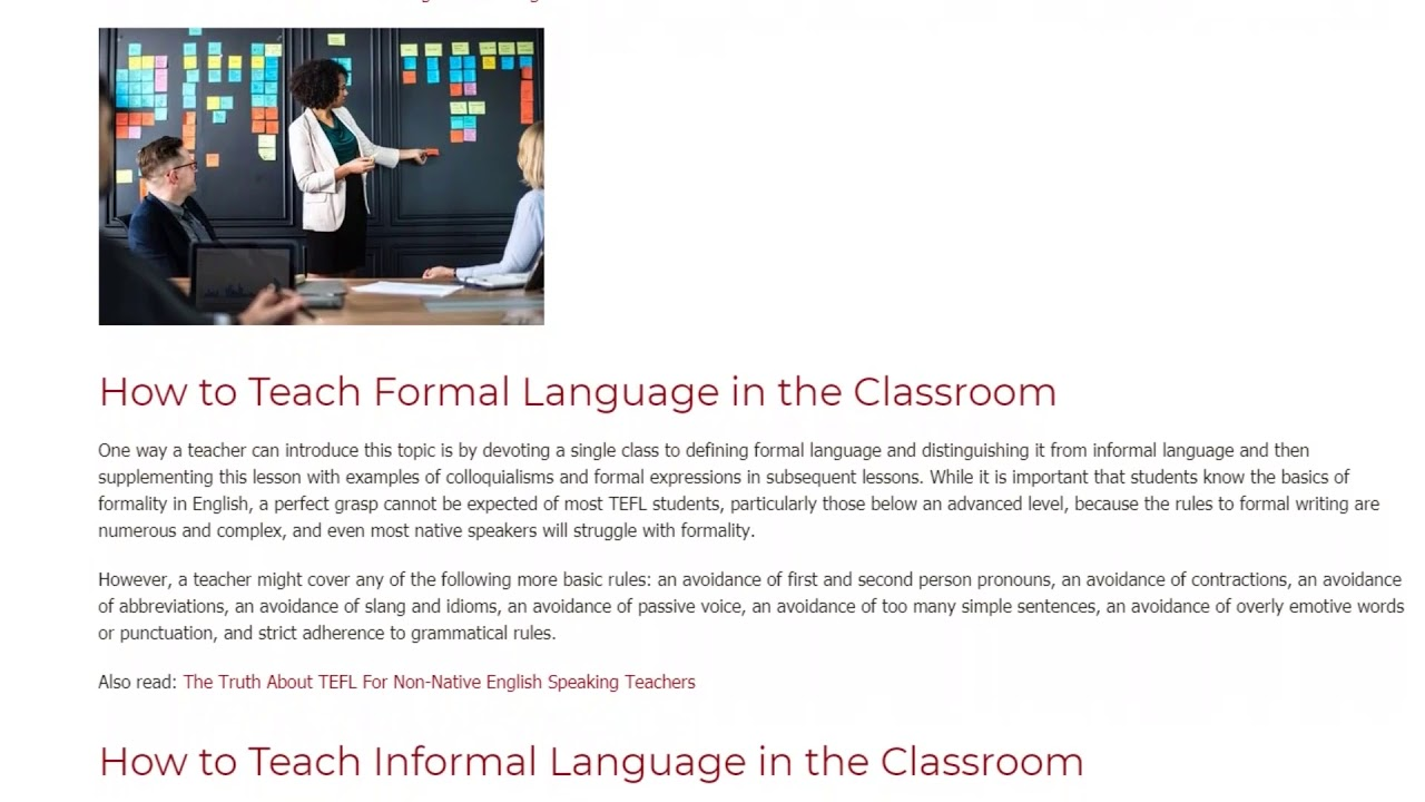 Teaching Formal and Informal Language in the ESL Classroom | ITTT TEFL BLOG
