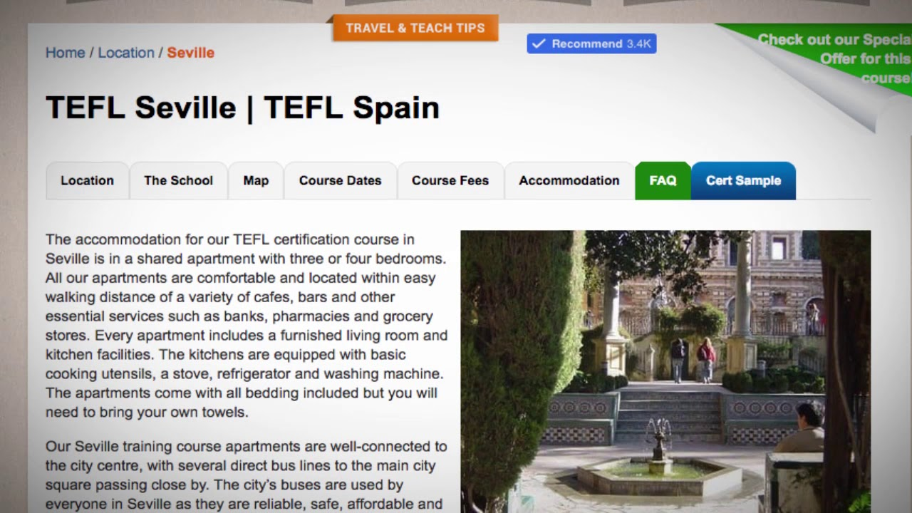 TEFL / TESOL School Accommodation in Seville, Spain | Teach & Live abroad!