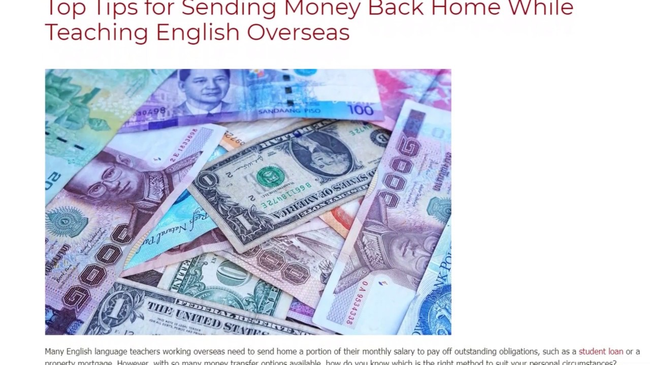 Top Tips for Sending Money Back Home While Teaching English Overseas | ITTT TEFL BLOG