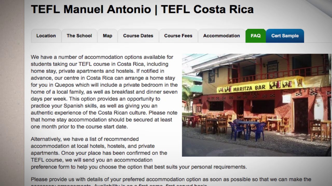 TEFL / TESOL School Accommodation in Manuel Antonio, Costa Rica | Teach & Live abroad!