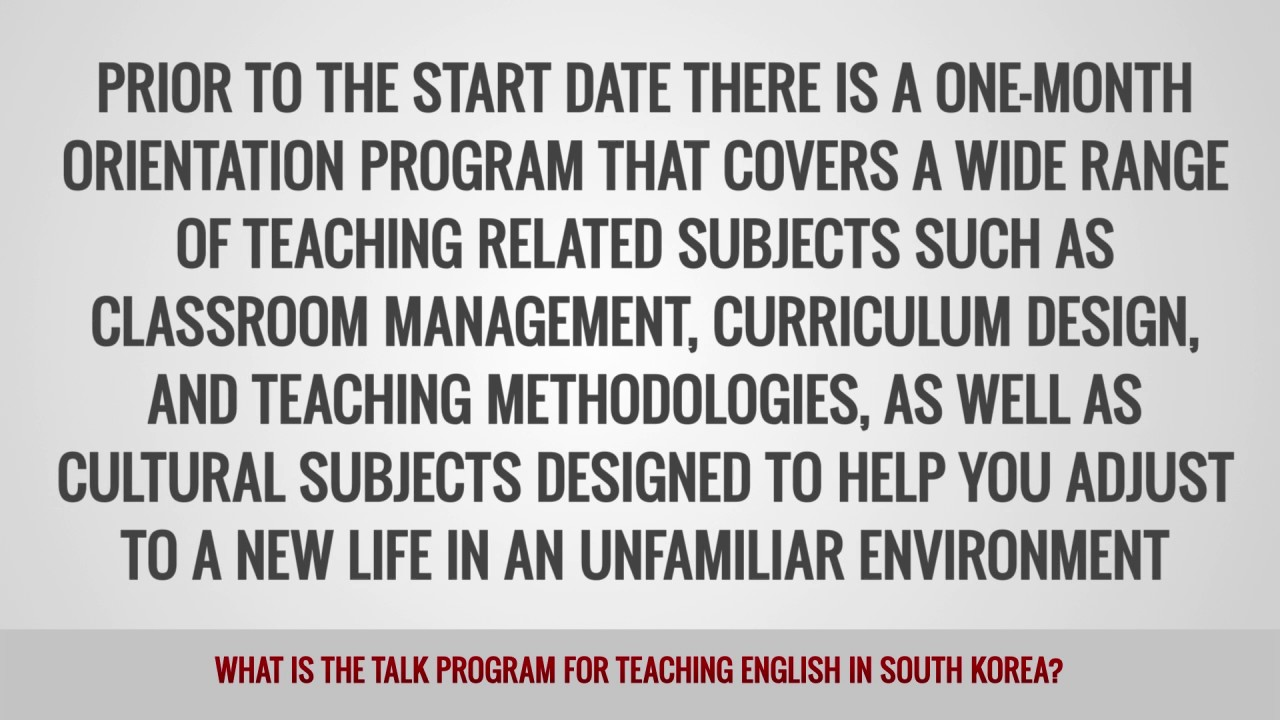 ITTT FAQs – What is the TaLK Program for teaching English in South Korea?