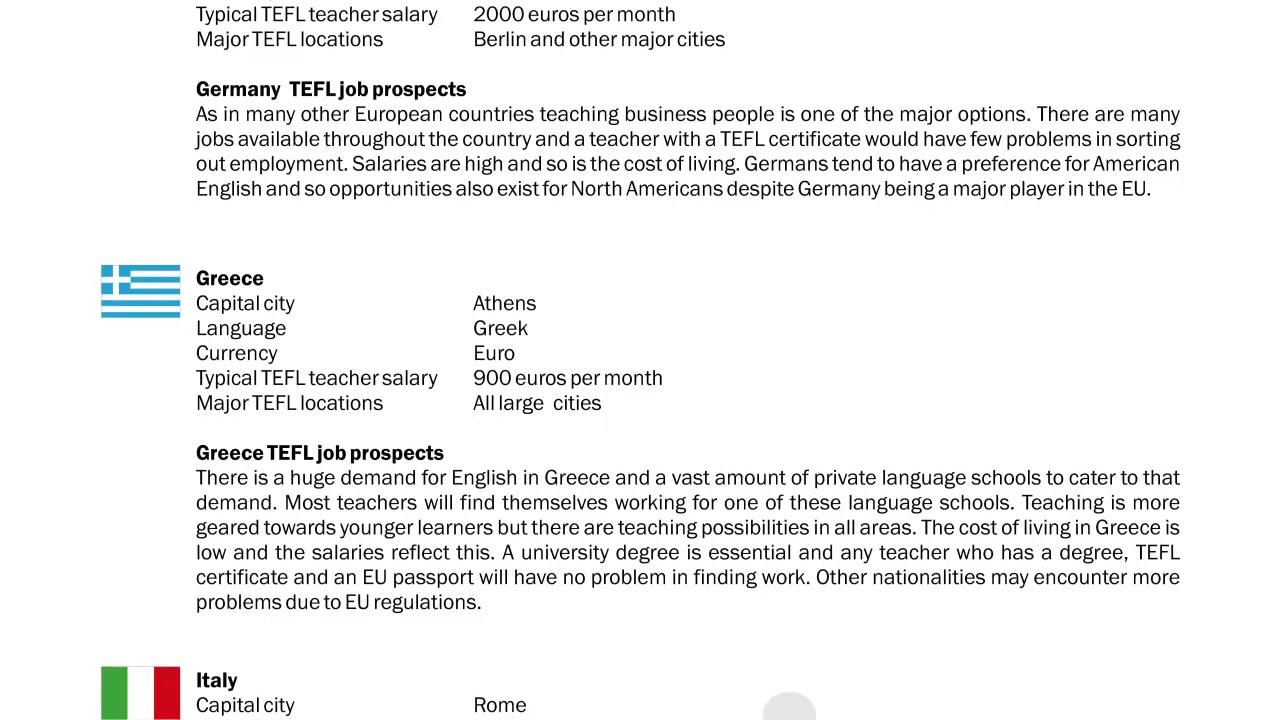 TEFL/TESOL Guide – Germany, Greece & Italy | International TEFL and TESOL Training (ITTT)
