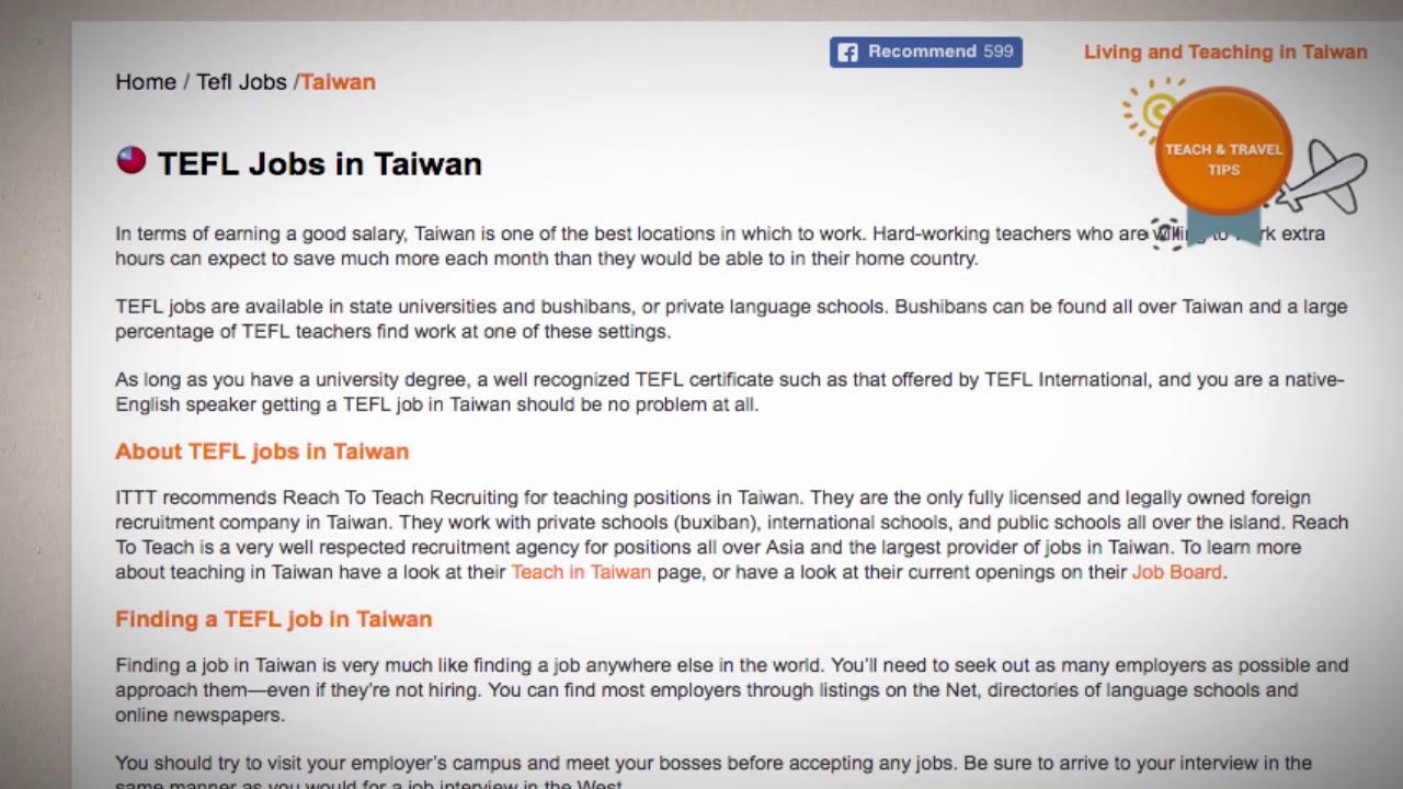 TEFL/TESOL Jobs in Taiwan | International TEFL and TESOL Training (ITTT)