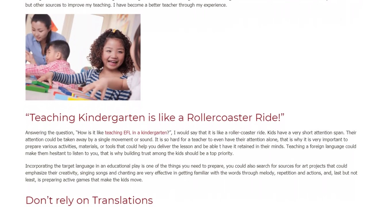What is it Like Teaching EFL in a Kindergarten | ITTT TEFL BLOG