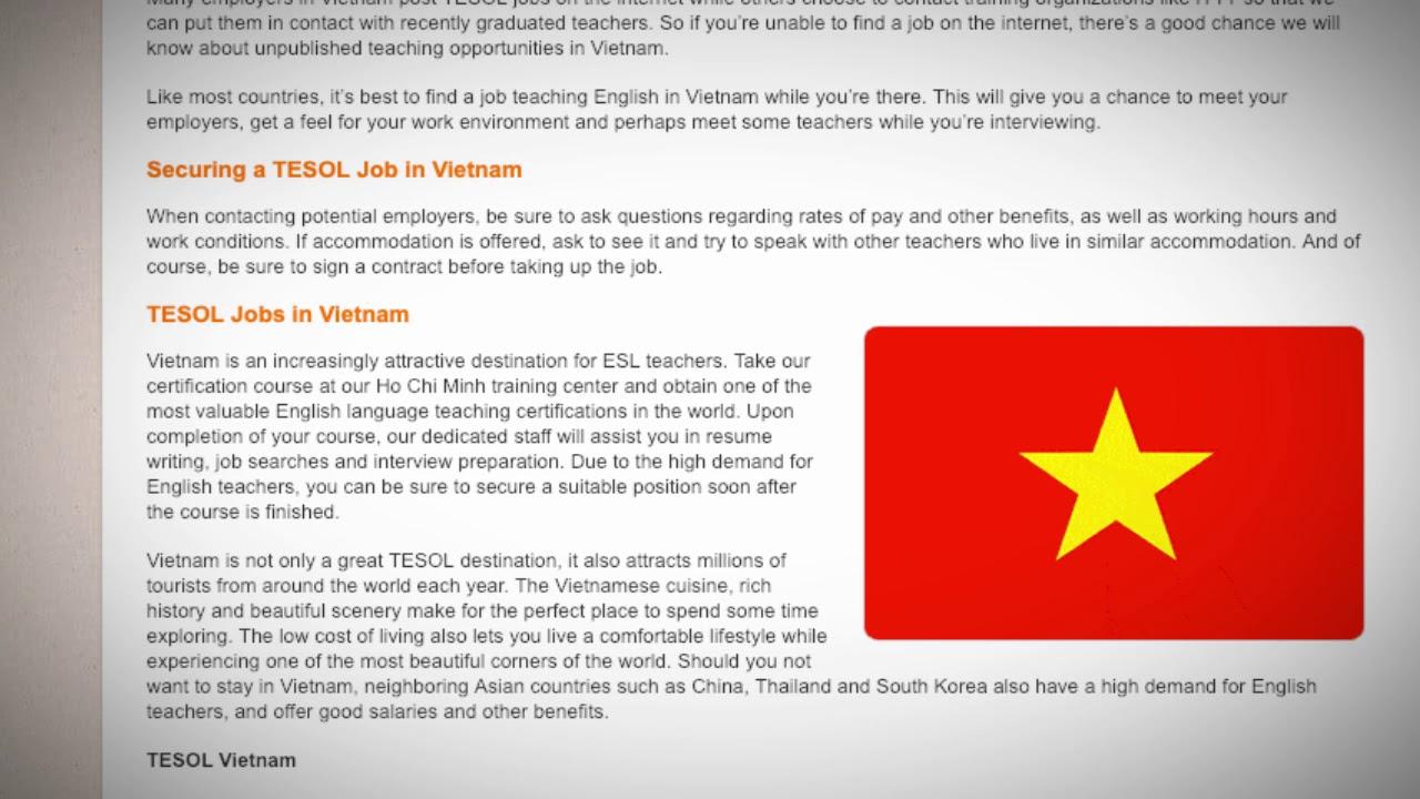 TEFL/TESOL Jobs in Vietnam | International TEFL and TESOL Training (ITTT)