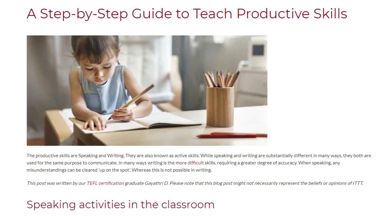 A Step-by-Step Guide to Teach Productive Skills | ITTT TEFL BLOG