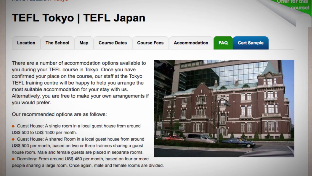 TEFL / TESOL School Accommodation in Tokyo, Japan | Teach & Live abroad!