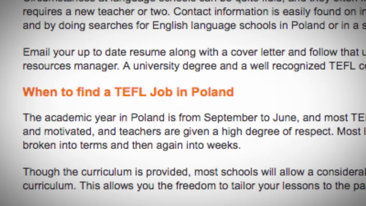 TEFL/TESOL Jobs in Poland | International TEFL and TESOL Training (ITTT)