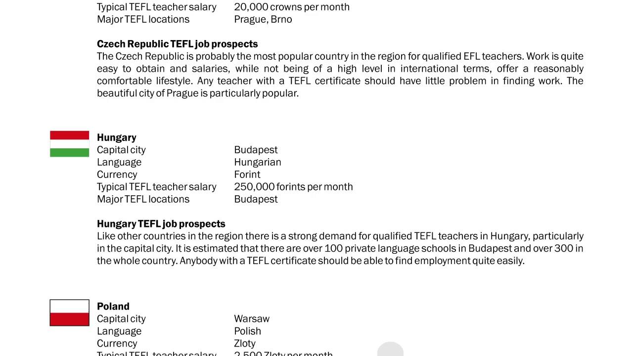 TEFL/TESOL Guide – Czech Republic, Hungary & Poland | International TEFL and TESOL Training (ITTT)