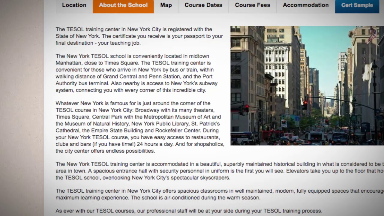 Welcome to Our TEFL / TESOL School in New York City, USA   Teach & Live abroad!
