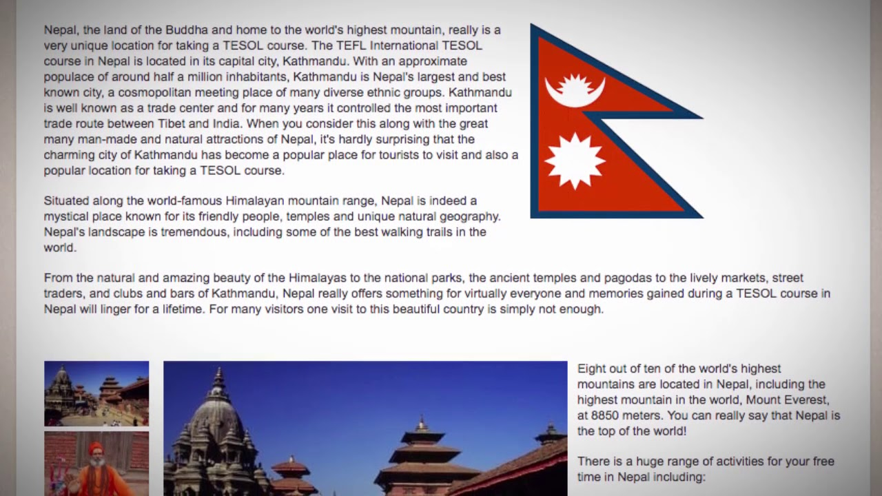 TESOL Course in Kathmandu, Nepal   Teach & Live abroad!