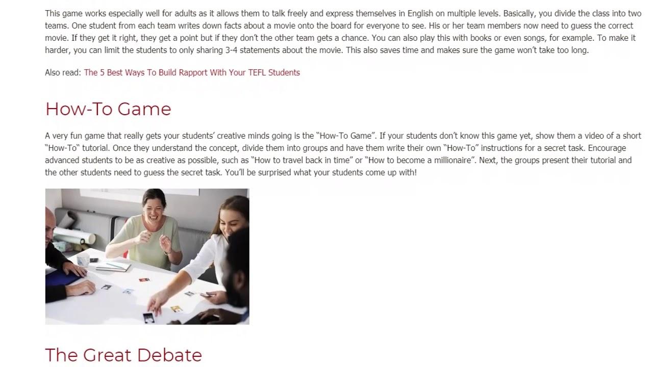 The 5 Best TEFL Games for Adult Students | ITTT TEFL BLOG