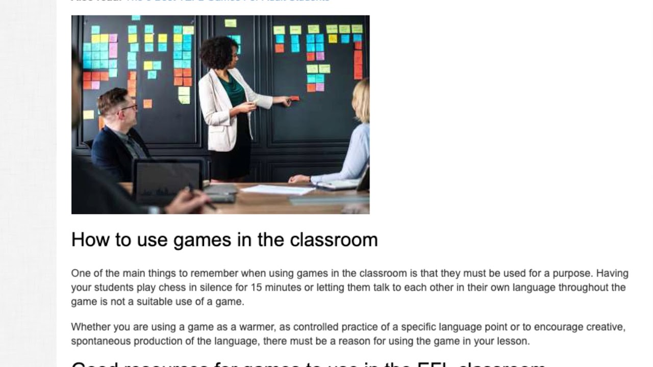 Games in the Classroom – What are EFL games? | ITTT TEFL BLOG