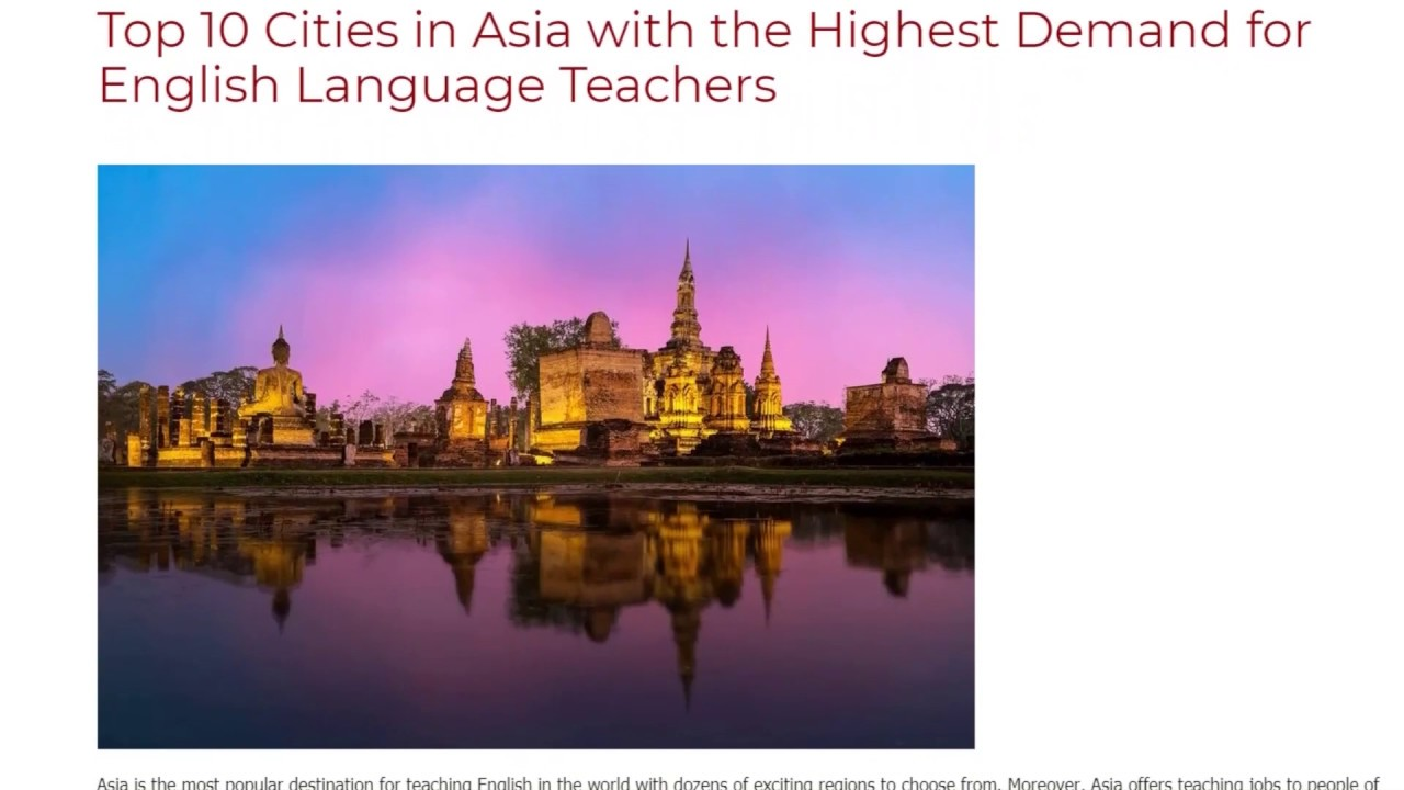 Top 10 Cities in Asia with the Highest Demand for English Language Teachers | ITTT TEFL BLOG