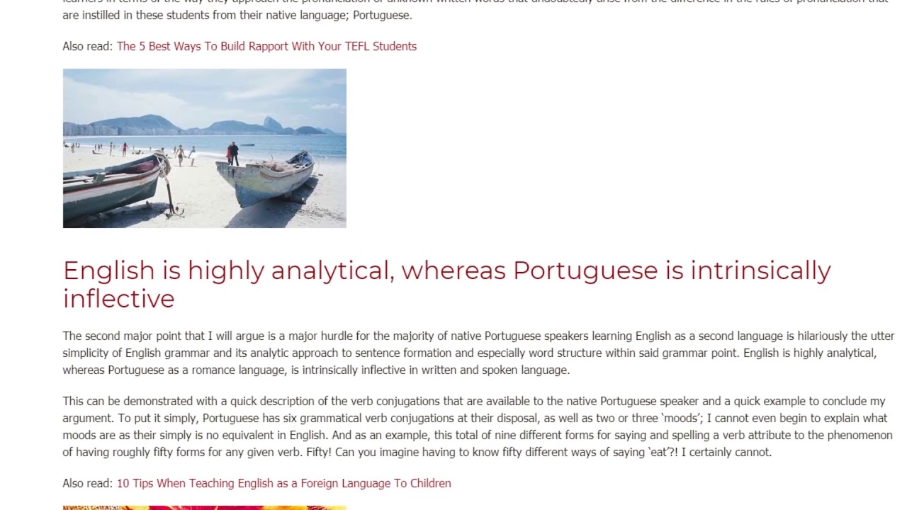 The Most Common Problems Portuguese Native-Speaking Students When Learning English | ITTT TEFL BLOG