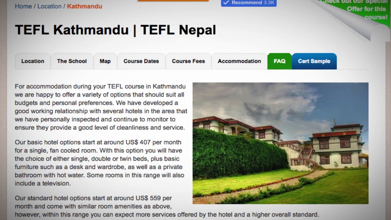 TEFL / TESOL School Accommodation in Kathmandu, Nepal   Teach & Live abroad!