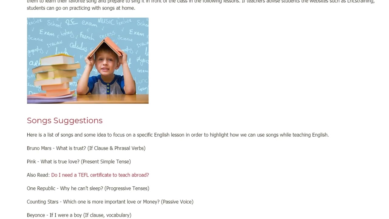 Authentic and Adapted Songs In The Class | ITTT TEFL BLOG