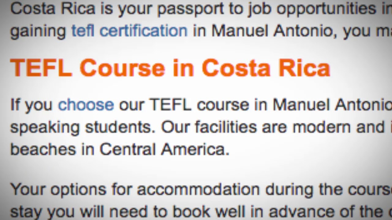 TEFL / TESOL Course in Manuel Antonio, Costa Rica   Teach & Live abroad!