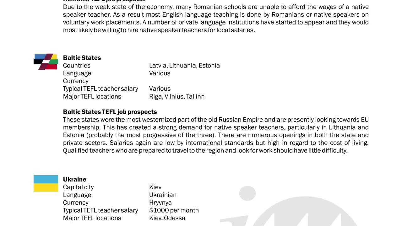 TEFL/TESOL Guide – Romania, Baltics & Ukraine | International TEFL and TESOL Training (ITTT)