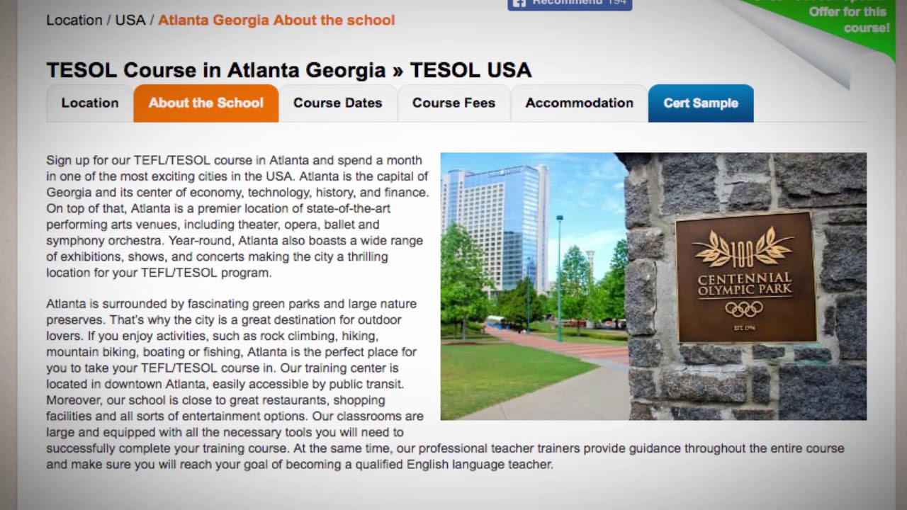 Welcome to Our TEFL / TESOL School in Atlanta, USA | Teach & Live abroad!