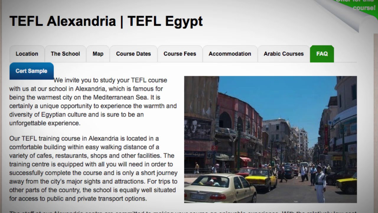 Welcome to Our TEFL / TESOL School in Alexandria, Egypt | Teach & Live abroad!