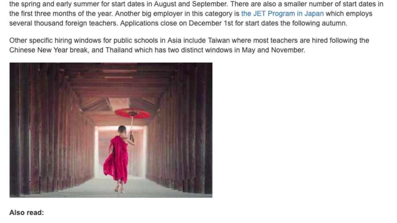 The Top Hiring Seasons for Teaching English Abroad | ITTT TEFL BLOG