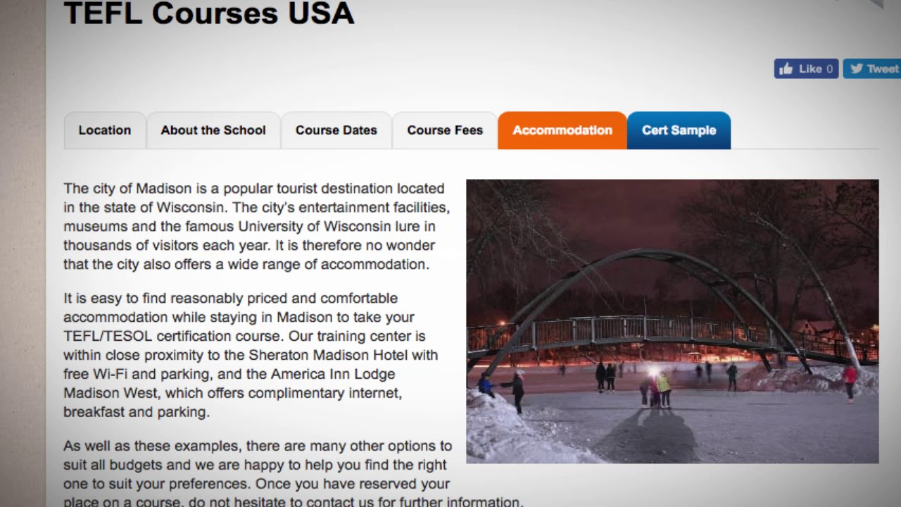 TEFL / TESOL School Accommodation in Madison, USA   Teach & Live abroad!