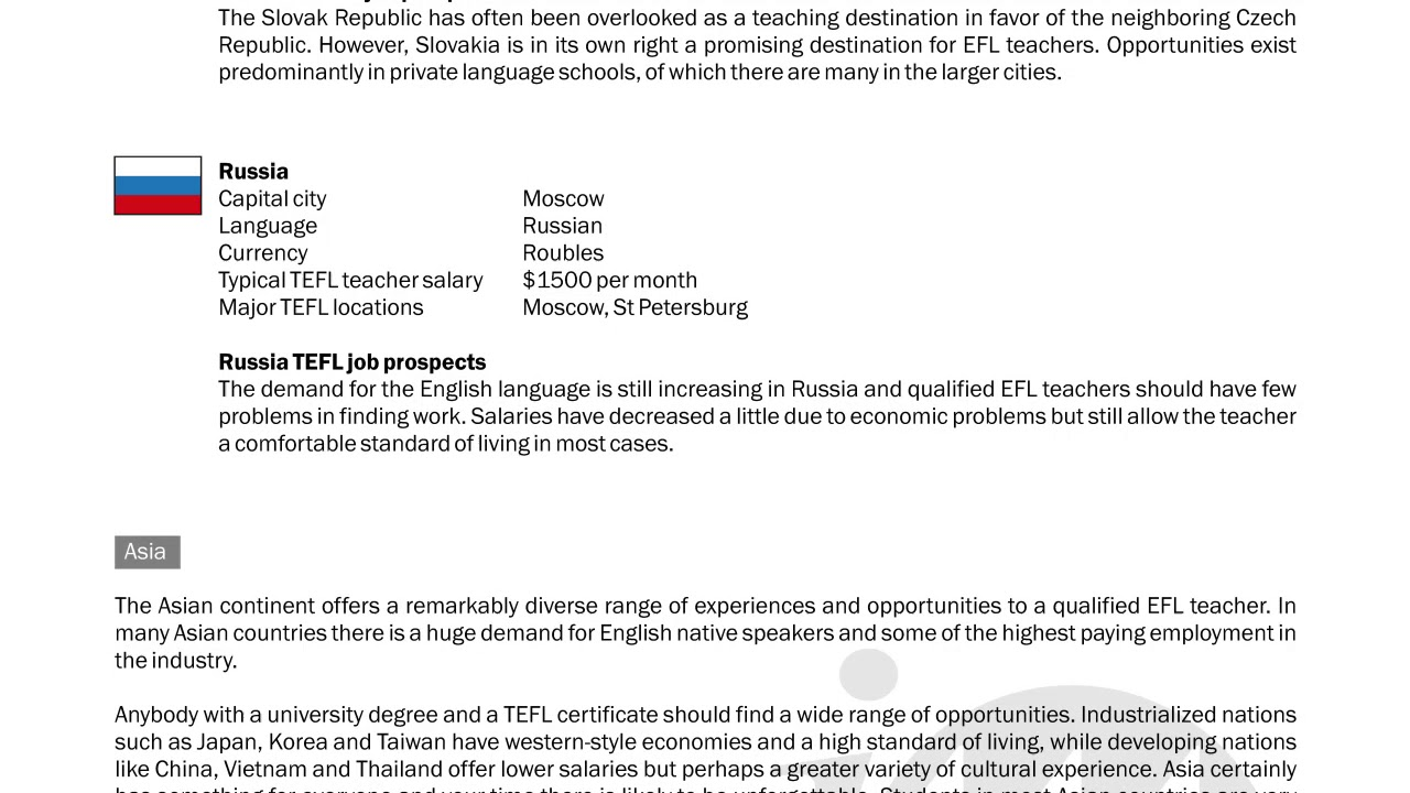 TEFL/TESOL Guide – Slovakia & Russia   International TEFL and TESOL Training (ITTT)