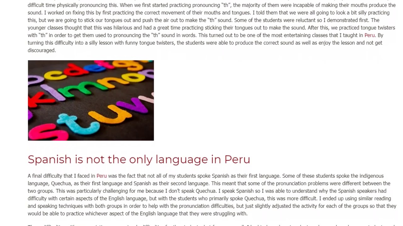 3 Common Pronunciation Problems for Students in Peru | ITTT TEFL BLOG