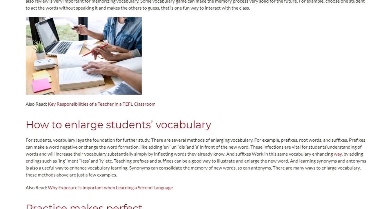 Ways to Teach Vocabulary Effectively   ITTT TEFL BLOG