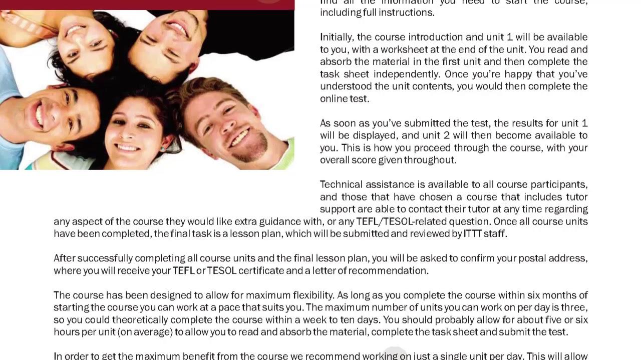 International TEFL and TESOL Training (ITTT) | Online Certificate Course Features