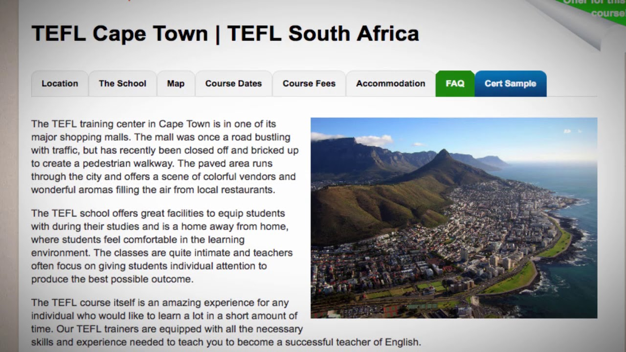 Welcome to Our TEFL / TESOL School in Cape Town, South Africa | Teach & Live abroad!