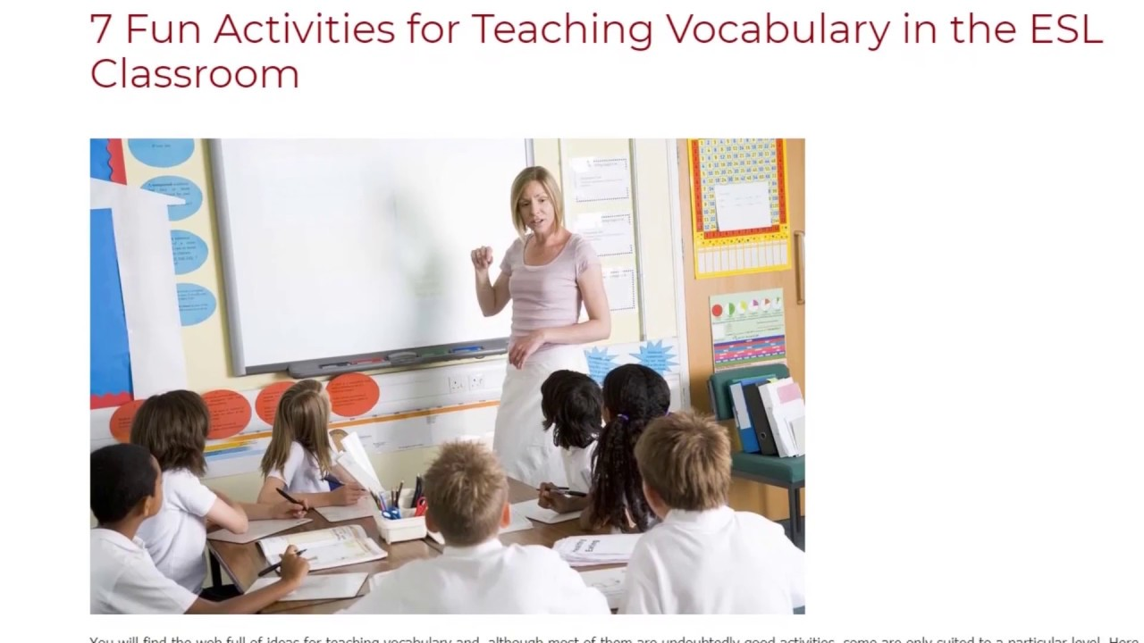 7 Fun Activities for Teaching Vocabulary in the ESL Classroom | ITTT TEFL BLOG
