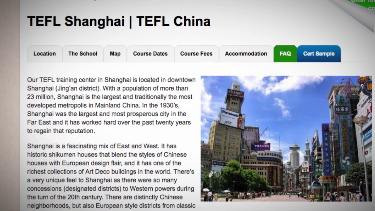 Welcome to Our TEFL / TESOL School in Shanghai, China | Teach & Live abroad!