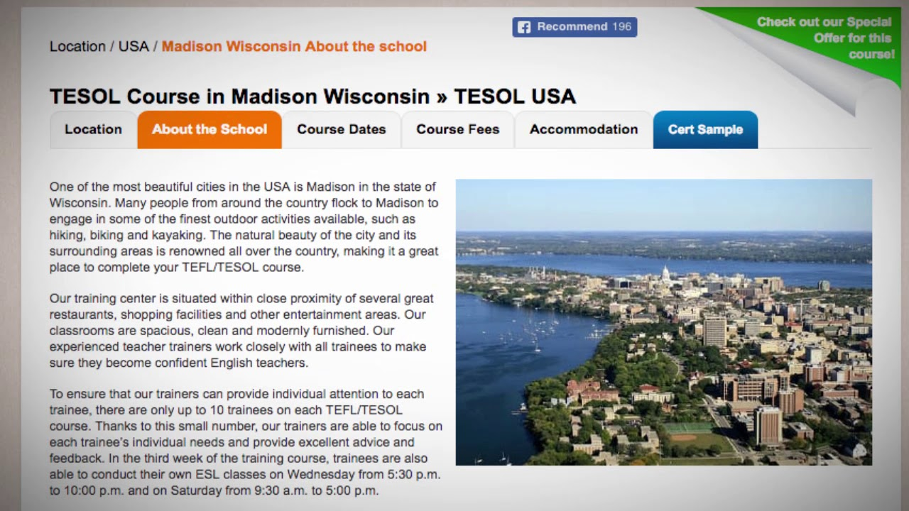 Welcome to Our TEFL / TESOL School in Madison, USA | Teach & Live abroad!