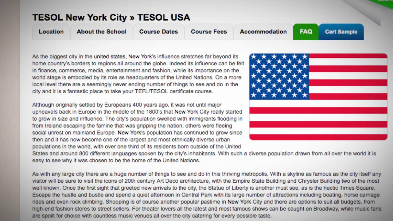 5 Days Combined TEFL / TESOL School in New York, USA | Teach & Live abroad!