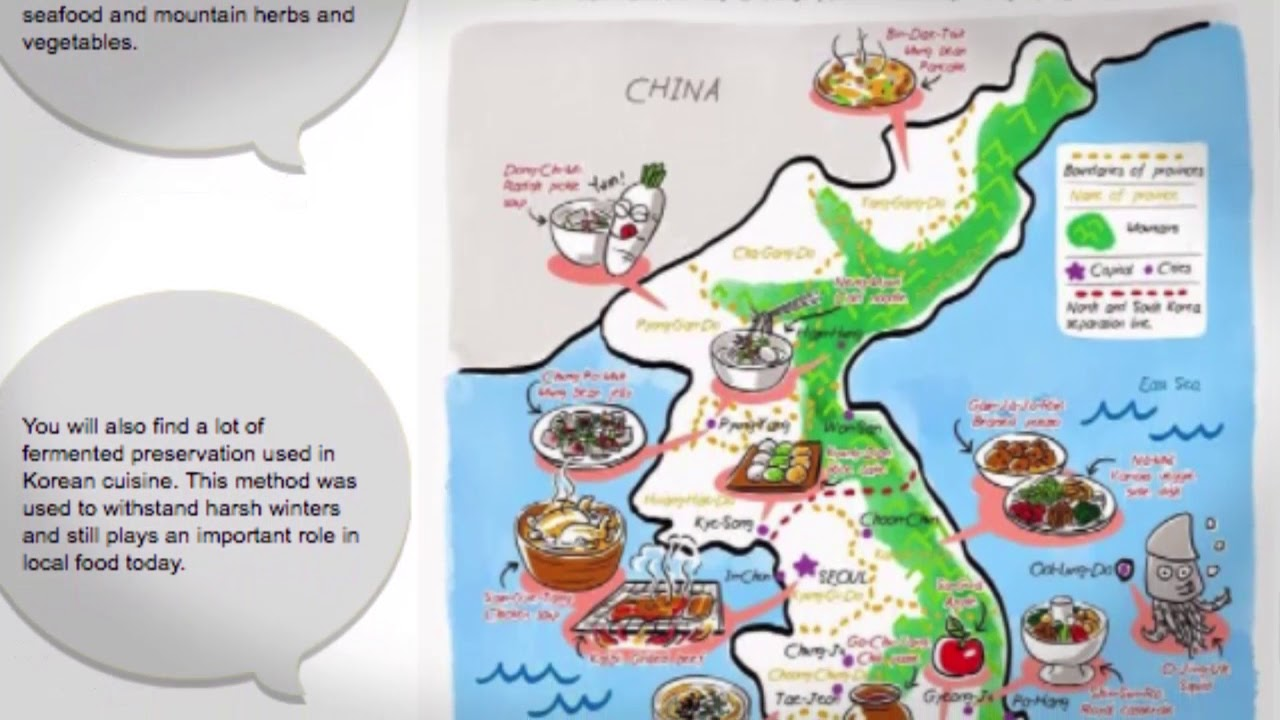 What are Koreas main regions and popular regional foods?