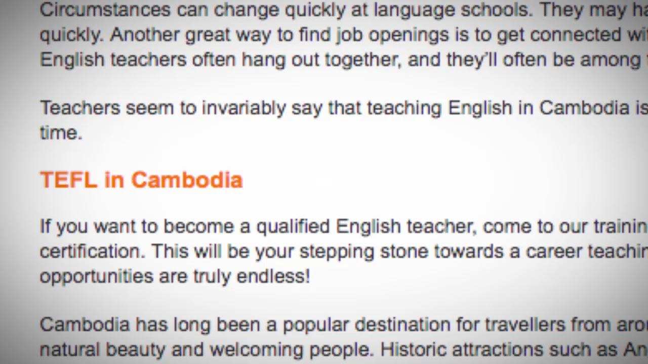 TEFL/TESOL Jobs in Cambodia   International TEFL and TESOL Training (ITTT)