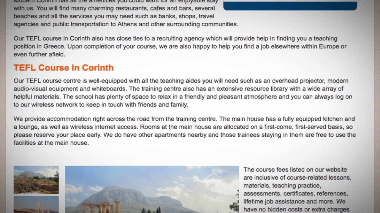 TEFL / TESOL Course in Corinth, Greece | Teach & Live abroad!