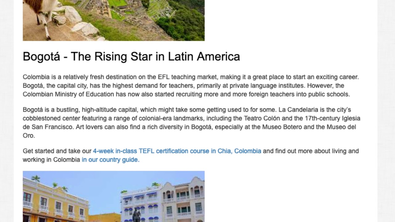 Top 10 Cities in Latin America with Highest Demand for English Language Teachers   ITTT TEFL BLOG