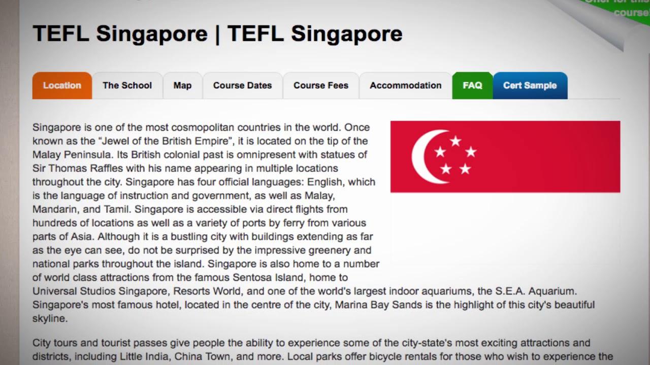 TEFL / TESOL Course in Singapore   Teach & Live abroad!