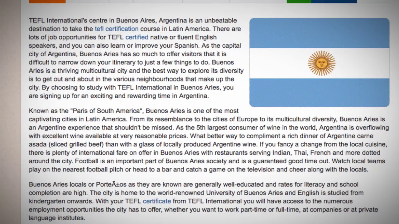 TEFL / TESOL Course in Buenos Aires, Argentina | Teach & Live abroad!