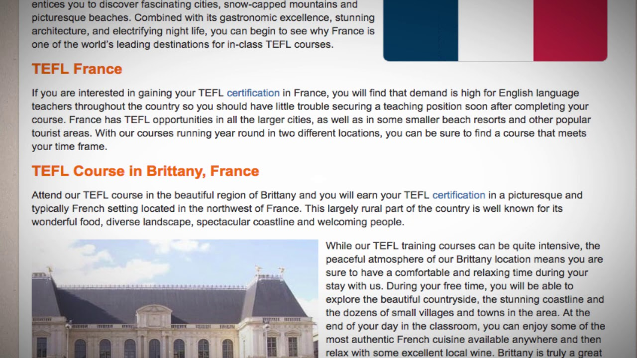 TEFL / TESOL Course in France | Teach & Live abroad!