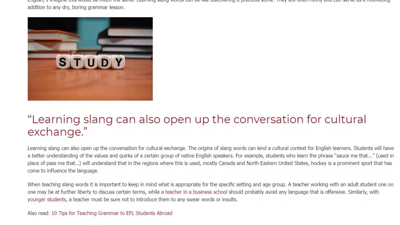 How Teaching Slang Can Benefit Your ESL Students | ITTT TEFL BLOG