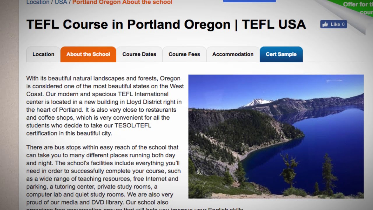 Welcome to Our TEFL / TESOL School in Portland, USA   Teach & Live abroad!