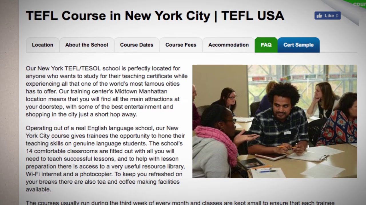 Welcome to Our TEFL / TESOL School in New York City, USA | Teach & Live abroad!