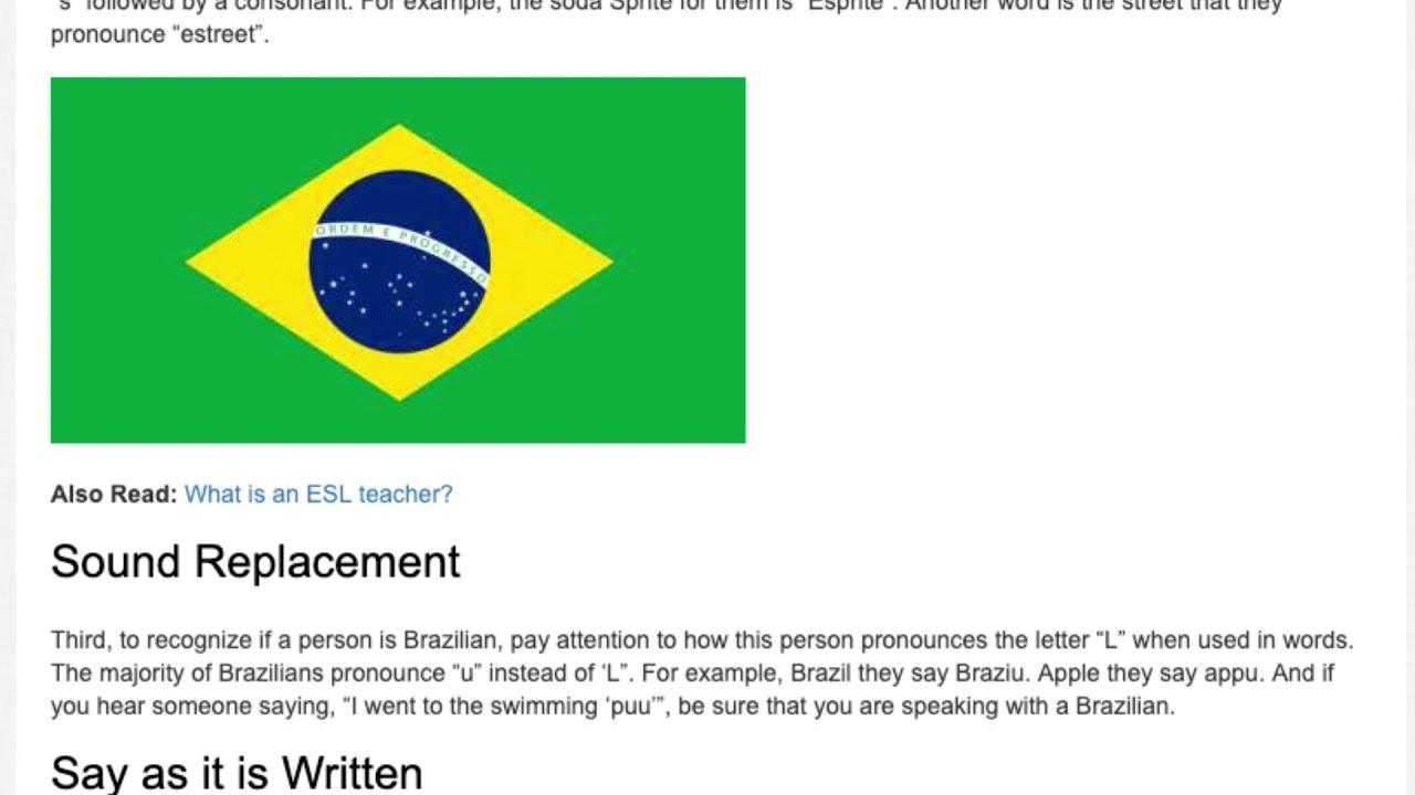 Pronunciation Mistakes that Brazilians Make While Speaking English | ITTT | TEFL Blog